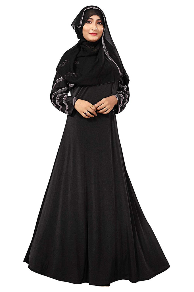 Women's Lycra Abaya Burka with Silver Diamond Work (Black, Size 44)