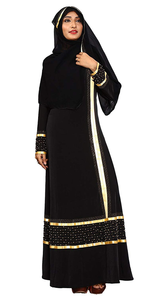 Women's Lycra Satin Lace Work Abaya Burka (JK4797, Black with Golden, Chest Size 44'', Length 55 Inch)