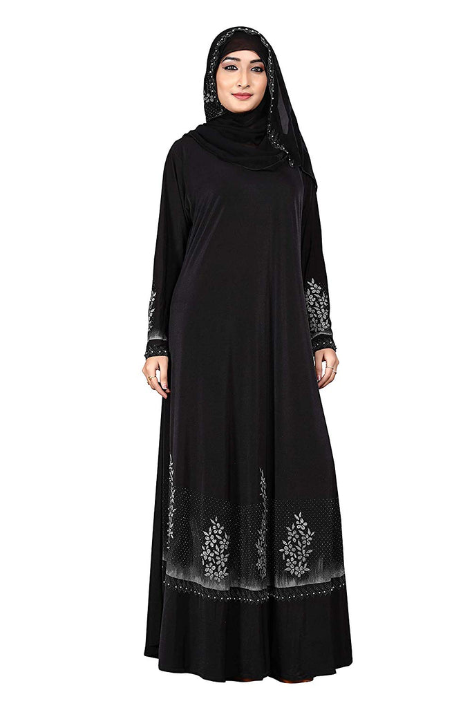 Women's Lycra Umbrella Abaya Hand Work Burqa with Scarf Hijab (Black and Silver; Free Size)