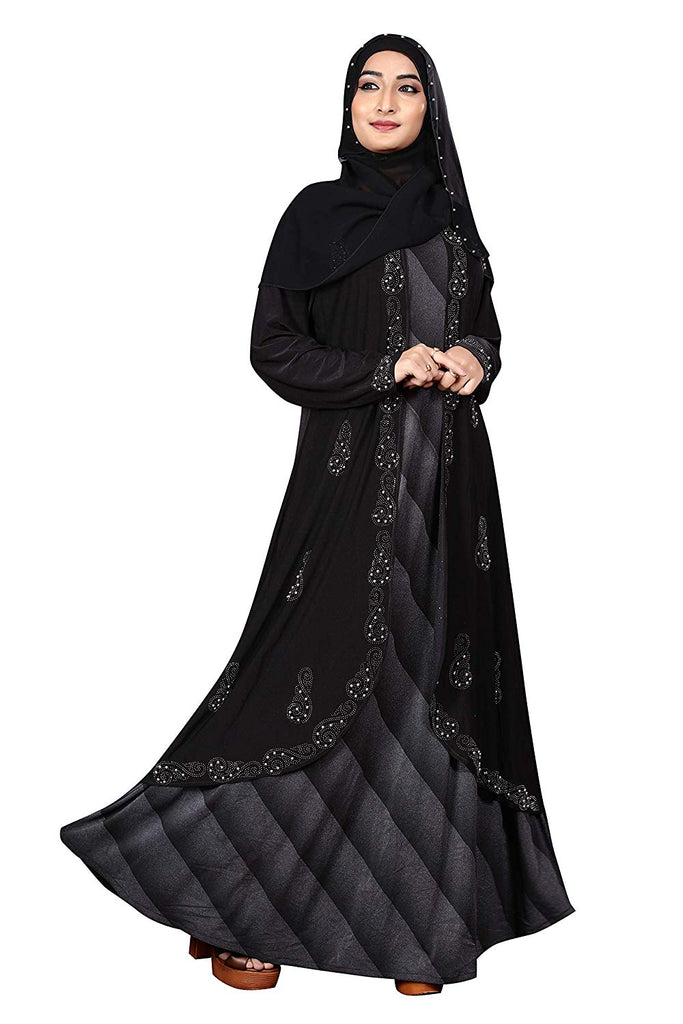 Women's Lycra and Chiffon Printed Abaya with Hijab (Black; Free Size)