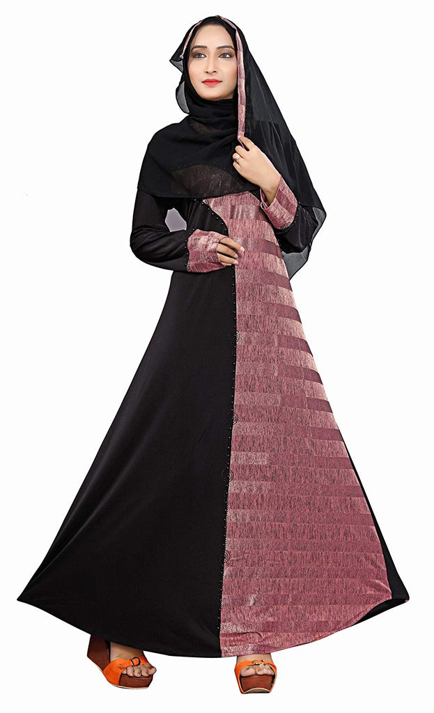 Women's Lycra Printed Abaya Burqa with Hijab Scarf (Black and Violet; 44)