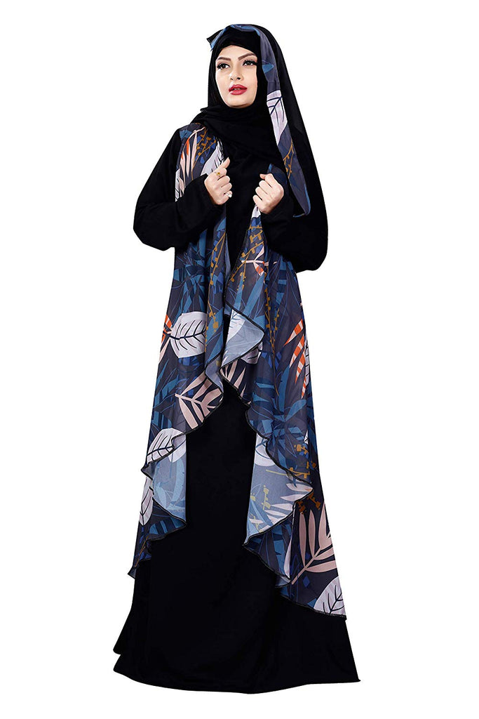 Jacket Style Printed Georgette + Nida Abaya Burqa With Hijab For Women