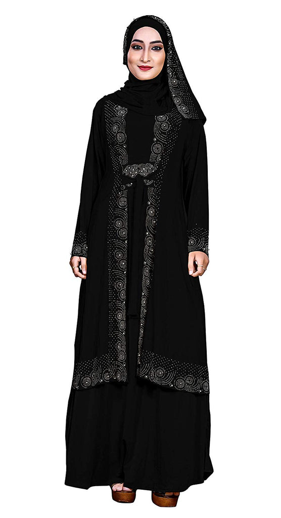 Women's Embossed Lycra Abaya Burqa with Hijab Scarf (Black; 42)