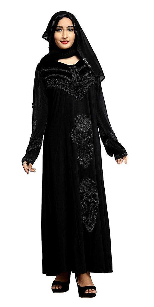 Black Color Crystal Lycra Abaya Burqa With Hijab Scarf For Women