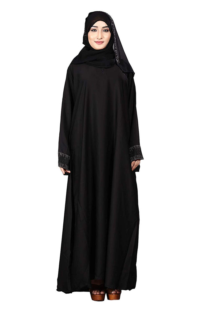 Women's Nida Plain Islamic Dress Abaya Burqa with Hijab (JK5050; Black; Free Size)