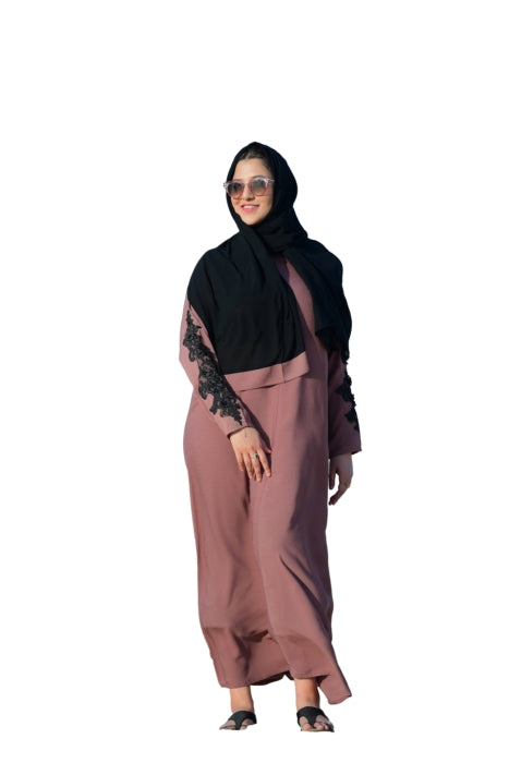 Tea Pink Crepe Abaya With Embroidered Applique