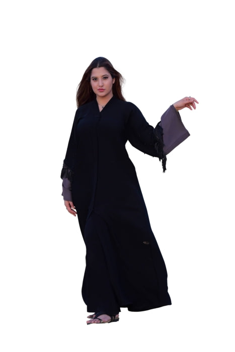 Black Abaya With Tassels And Pearl Detailing