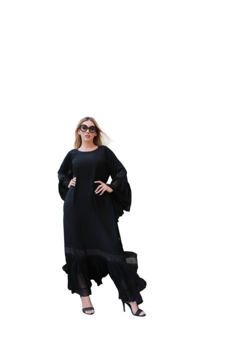 Solid Black Abaya With Pleated Chiffon Sleeves