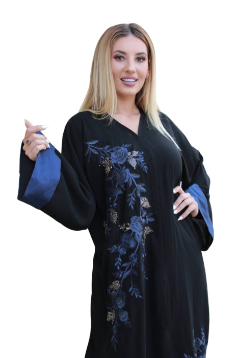 Black Abaya With Blue Embroidered Applique Work