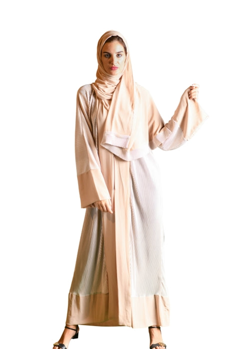 Pleated Design Abaya, Beige