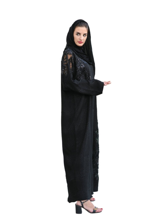 Matte Textured Black Abaya With Floral Embroidery