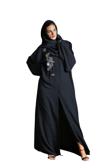 Black Abaya With Embroidery And Stone Work
