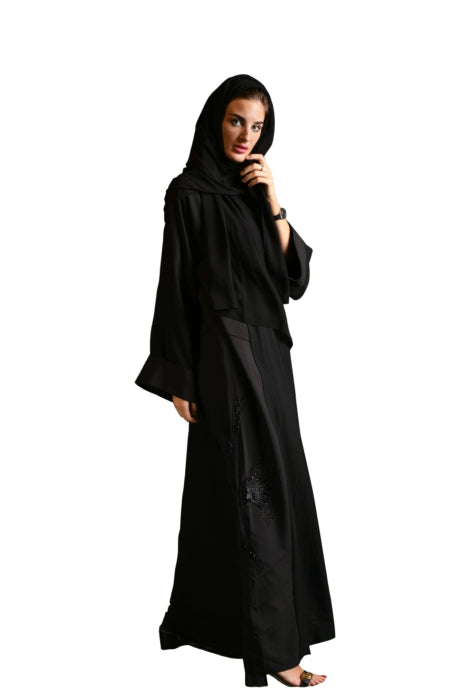 Matte Stitched Detailed Abaya With Stone Work