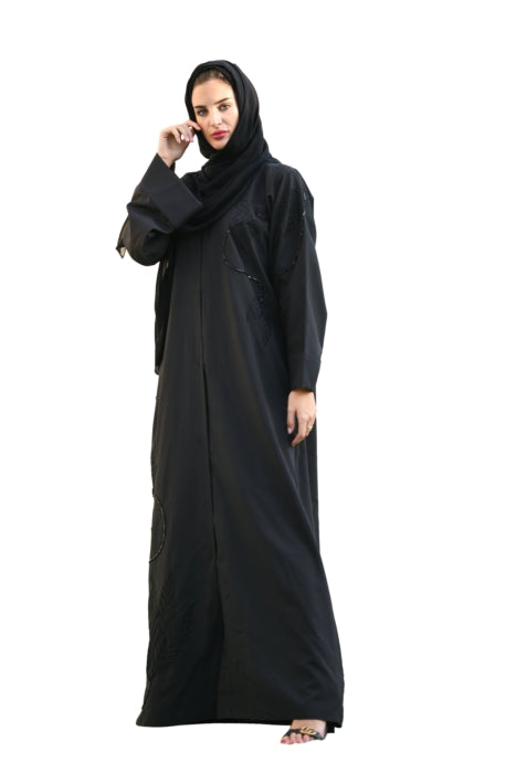 Matte Black Abaya With Embroidery And Floral Stone Work