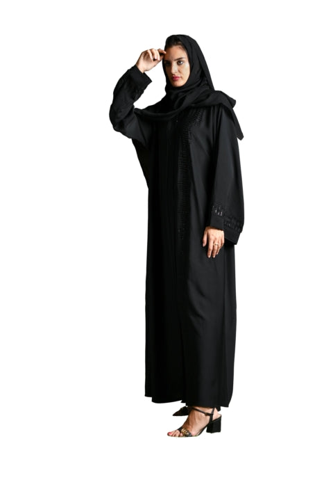 Solid Black Abaya With Ruffled Detailing
