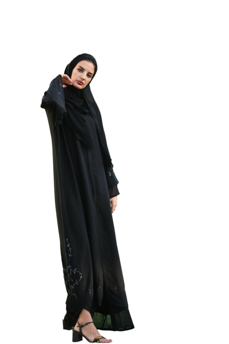 Black Abaya With Floral Stone Work