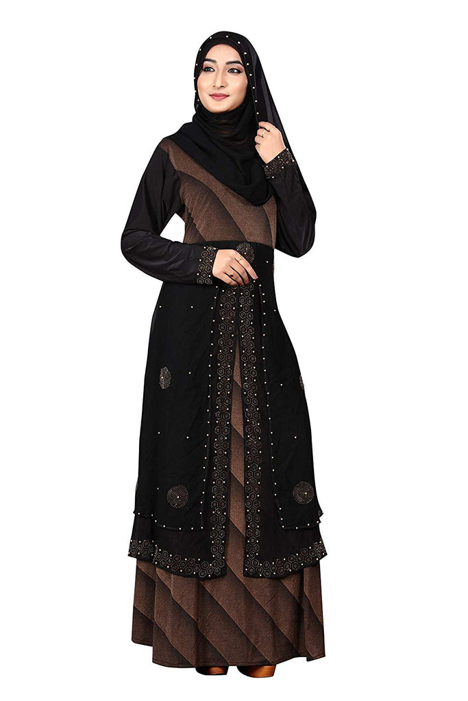 Women's Lycra Chiffon Strip Printed Abaya Burqa with Hijab (JK5055; Black and Brown; Free Size)