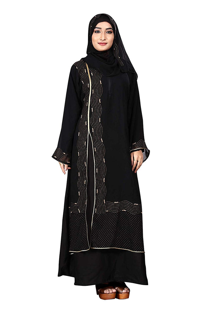 Women's Nida Abaya Burqa with Attached Chiffon Jacket and Hijab (Black, Free Size)