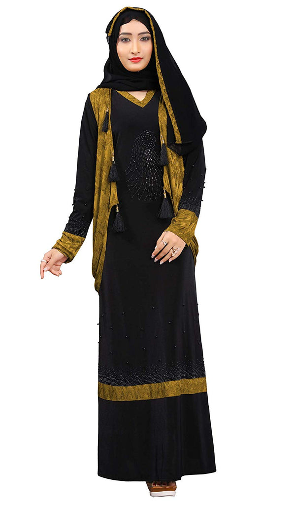 "Women's Lycra Abaya Burqa with Jacket and Chiffon Dupatta (Mehendi, Chest Size-42"", Length-60"")"