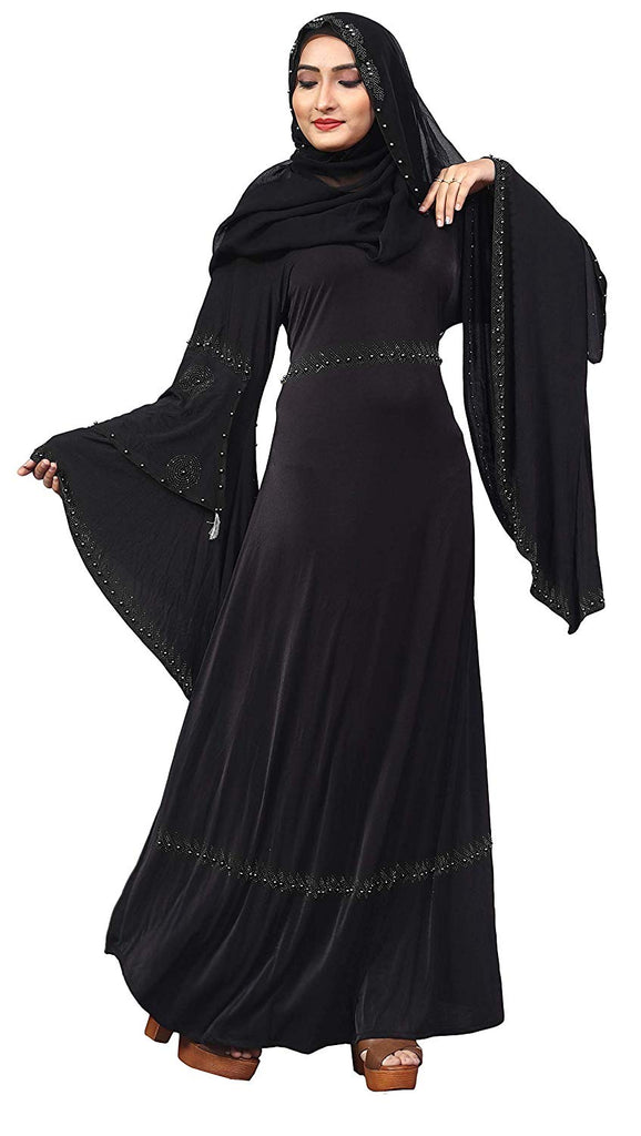 Women's Lycra Stretchable Abaya Burka with Fancy Sleeves (Black; 44)