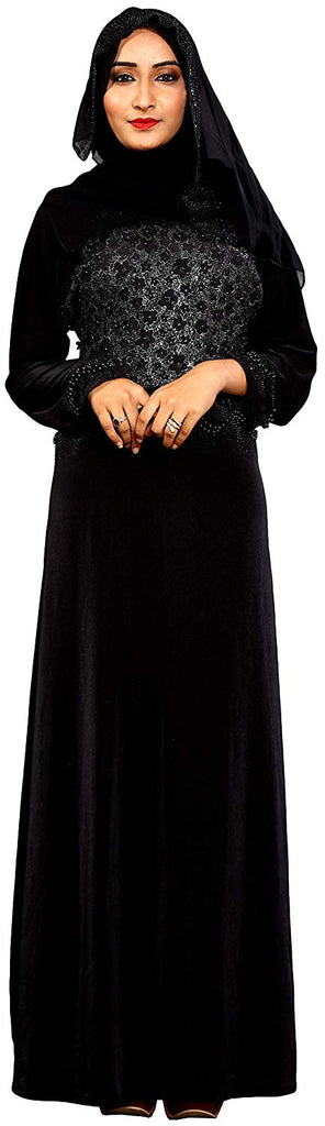 Women's Lycra Abaya Burka with Hijab Scarf (Black; 44)