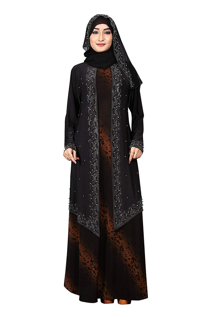 Women's Lycra Animal Printed Abaya Burqa with Attached Chiffon Jacket and Hijab (Black Orange; Free Size)