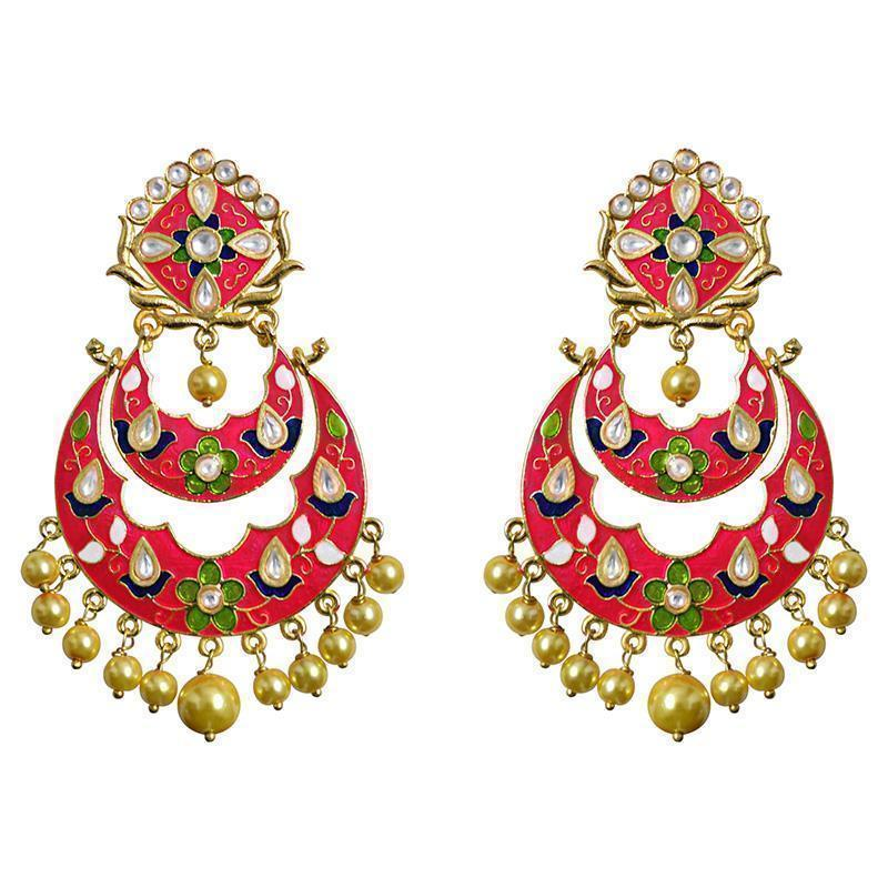 Kundan Meenakari Double Layer Gold Plated Brass Chandbali