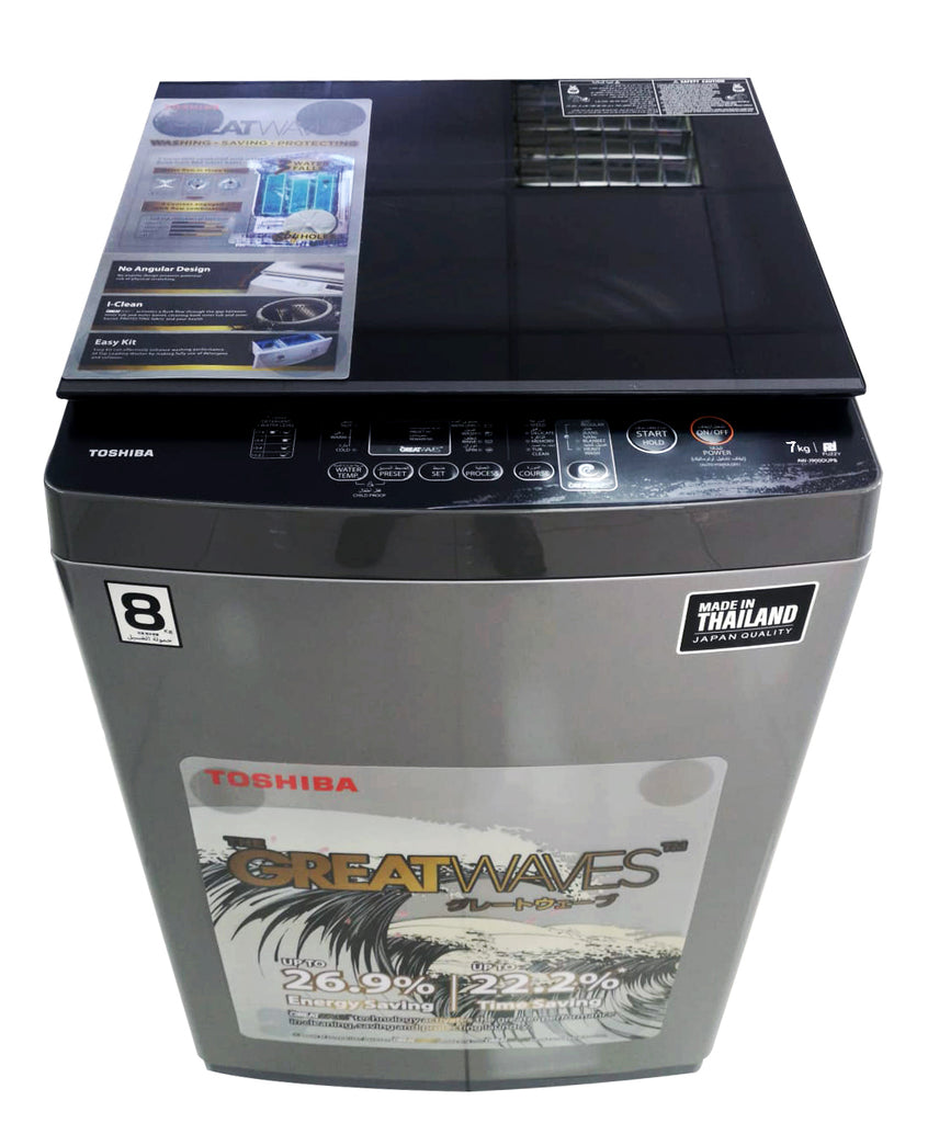 Toshiba WM 7kg، Great Waves، Glass Lid، Silver