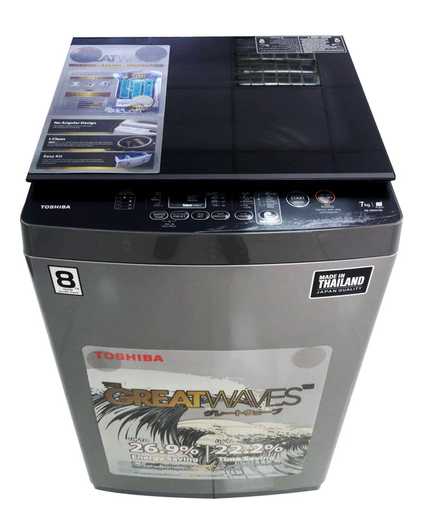 Toshiba WM 7kg, Great Waves, Glass Lid, Silver