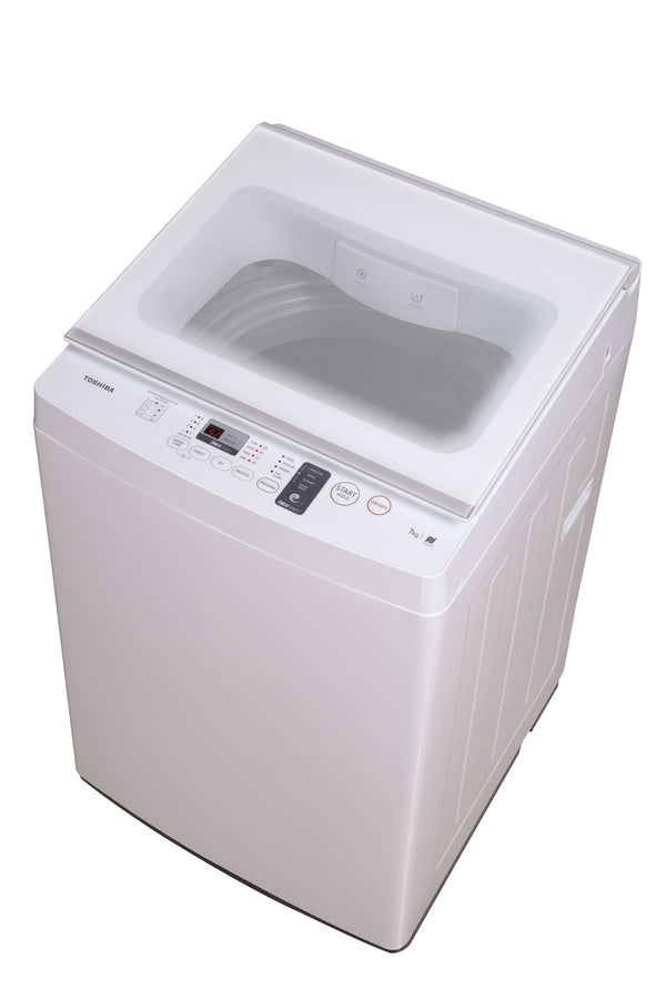 Toshiba WM 7kg, Great Waves, Glass Lid, White