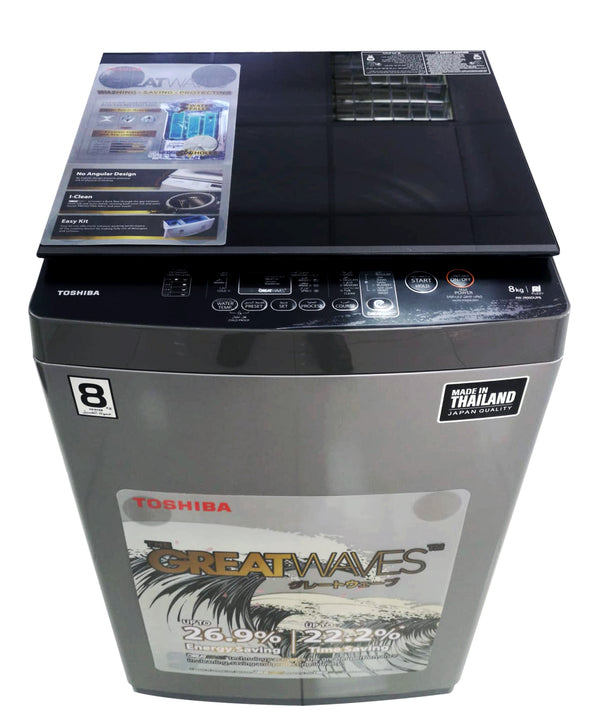 Toshiba WM 8kg, Great Waves, Glass Lid, Silver