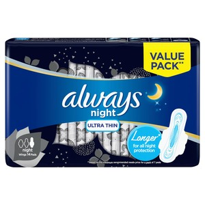 Always Mesh Ultra Thin Night Sanitary Pads 14 Count