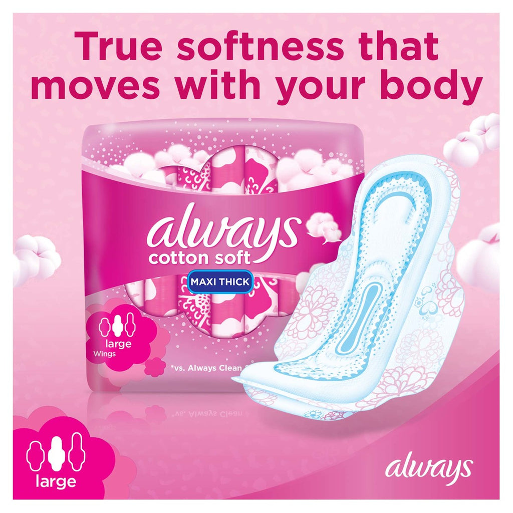 Always Soft Maxi Thick Large Sanitary Pads 50 Count