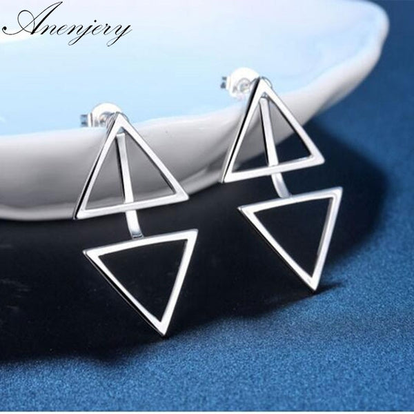 Anenjery 925 Sterling Silver Earrings For Women Personality Triangle Stud Earrings Fashion Jewelry S-E508