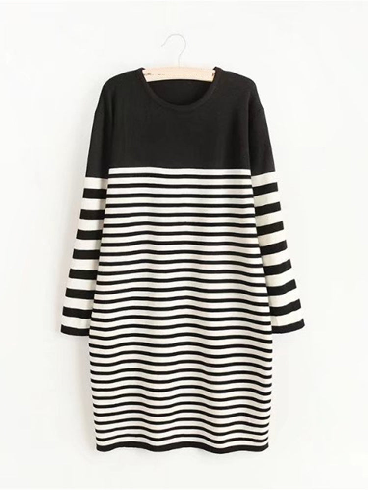 Autumn Women Stripe Thick Pullover Sweater Dress
