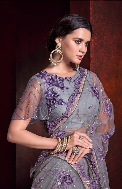 Purple Net Heavy Embroiderd Sequance and 3D flower Work Saree with Blouse
