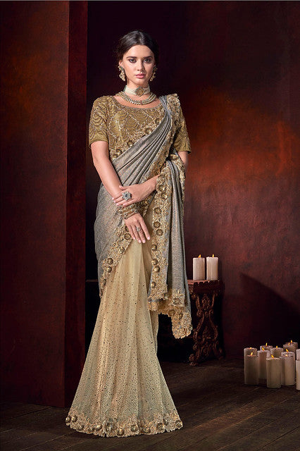 Gold&Silver China Heavy Crystal Work Saree with Blouse