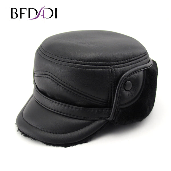 BFDADI New Arrival Flat Top Winter Bomber Hats for Men Black and Grey Colors 2019 Warm with Ear Flaps Cotton Men Dad Hat