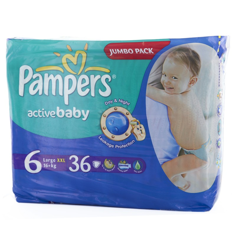 Pampers Active Baby Jumbo Pack XXL - Size 6 [16+ kg] - 36 Diapers