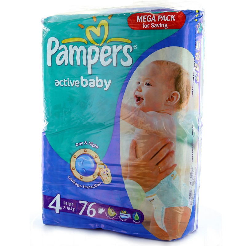 Pampers Active Baby Mega Pack Maxi - Size 4 [7 - 18 kg] - 76 Diapers