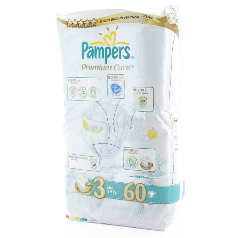 Pampers Premium Care Midi - Size 3 [4 - 9 kg] - 60 Diapers