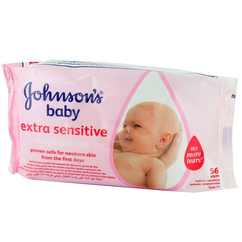 Johnson's Baby Wipes Fragrance Free Extra Sensitive 56's