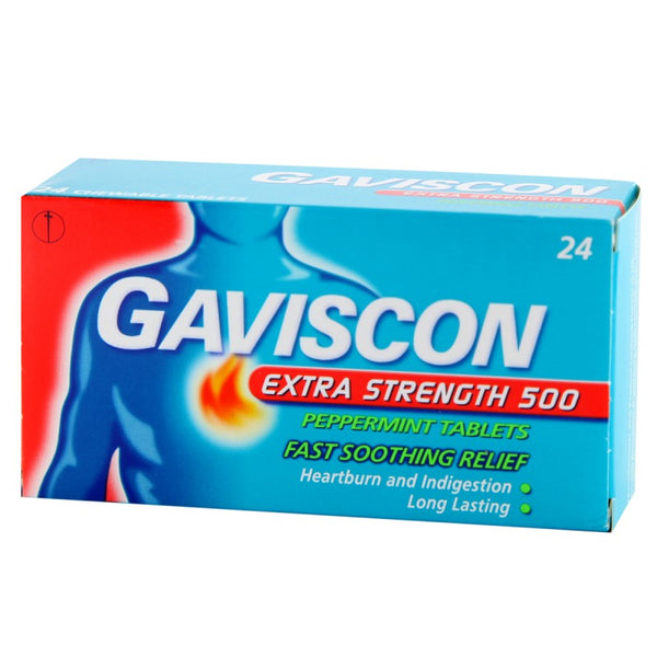 Gaviscon Extra Strength 500 Peppermint Tablets 24's