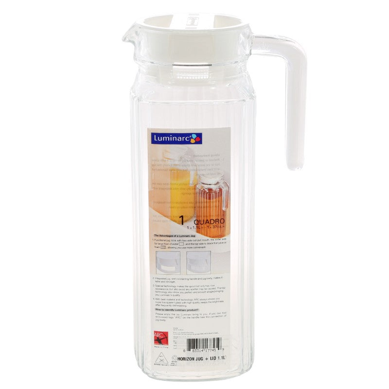 Quadro Water Jug With Lid 1 Lt 703