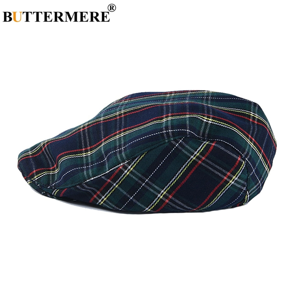 BUTTERMERE Flat Caps For Men Navy Plaid Women Beret Hat Vintage Cotton Spring Summer British Style Checked Mens Cabbie Hats
