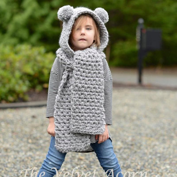 Baby Girls Cute Animals Hats Warm Outdoor Handmade Sweet Cops Winter Wool Knitted Wrap Bear Scarf Caps Children Christmas Gift