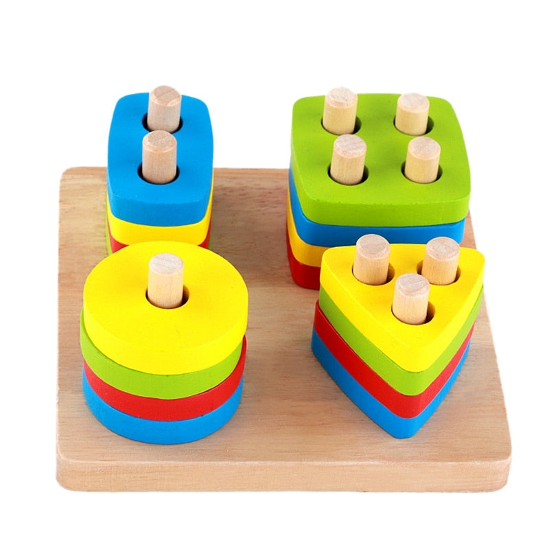Baby Toys Wooden Blocks Shape Jointed Board Teaching Learning Education Building Chopping Block Match Toy For 0-3 Years Shape