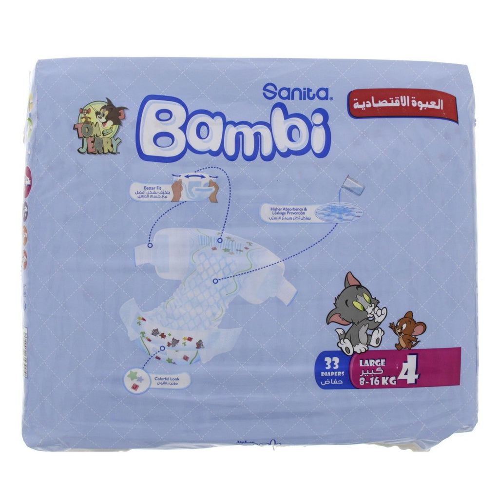 Bambi Diaper, Size 4, Large, 8-16kg, 33 Count