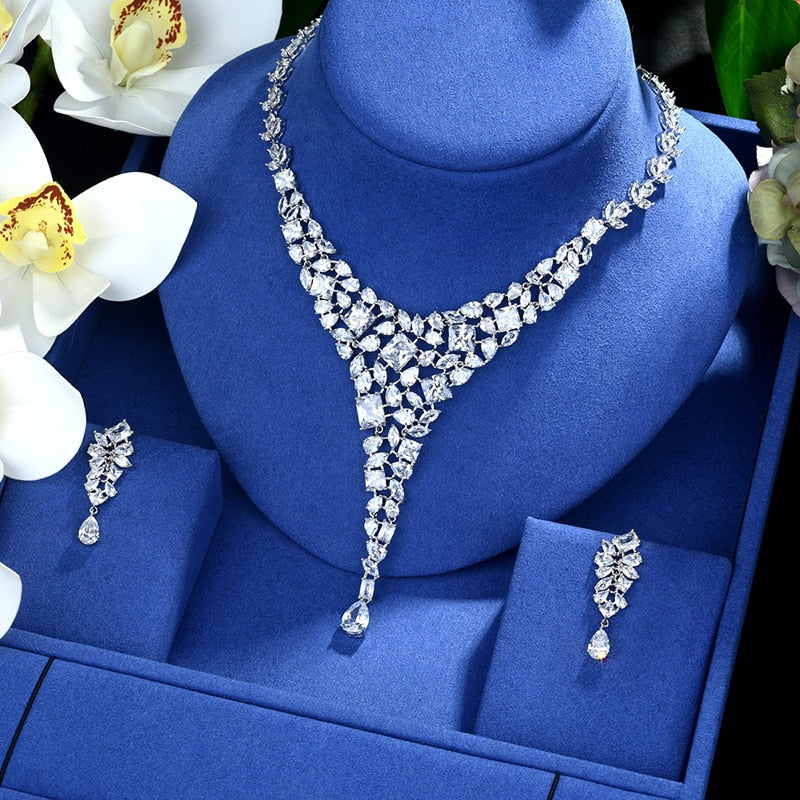 Be 8 Luxury White Cubic Zirconia Earrings Necklace for Women White Gold Color Wedding Dinner Party Fashion Jewelry Set S482