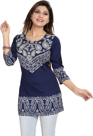 Beautiful Paisley Printed Tunic Top